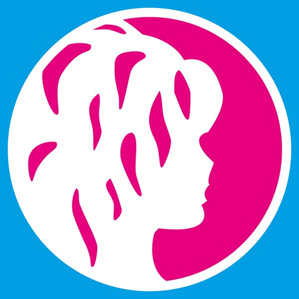 Weißer Frauenkopf im pinken Kreis - Auricher Frauen Logo