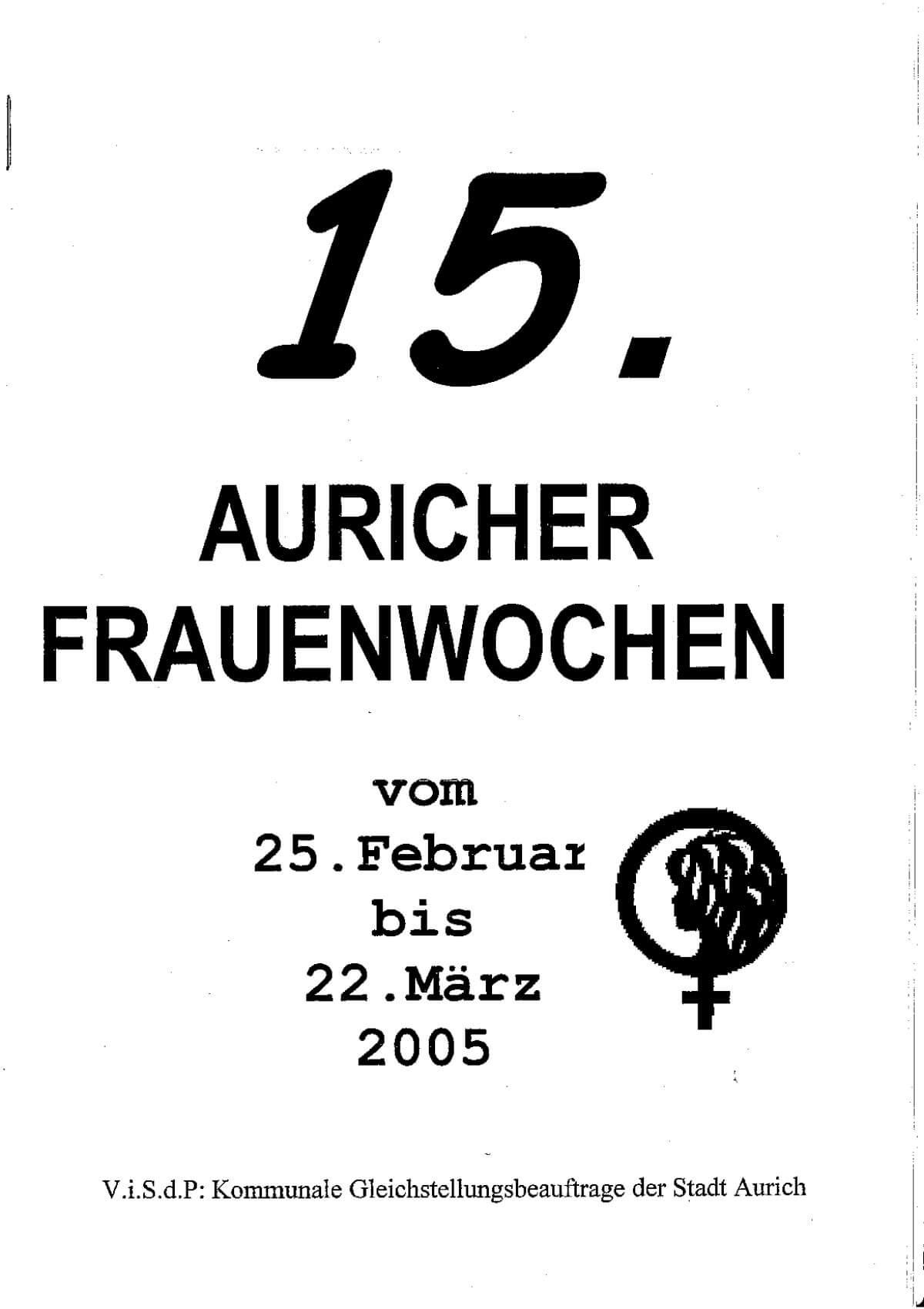 Programmheft 2005 anschauen – Auricher Frauenwochen